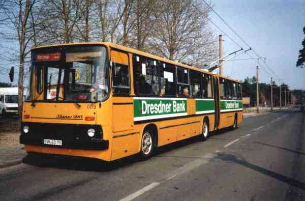 Articulated trolleybus no. 009 of the Hungarian type Ikarus 280.93 (out of service)