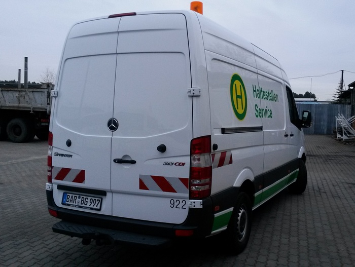 Service car for bus stops of the German type MB Sprinter CDI 313 at the depot Eberswalde/Nordend