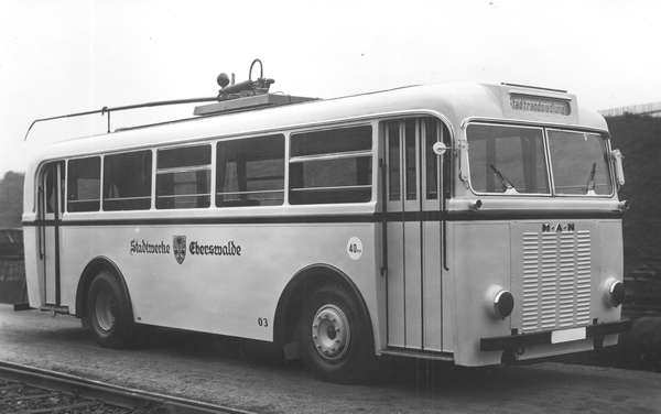 Trolleybus no. 03(I) of the German type MPE 1 at the terrain of the company Fahrzeugbau Schumann GmbH Werdau/Germany