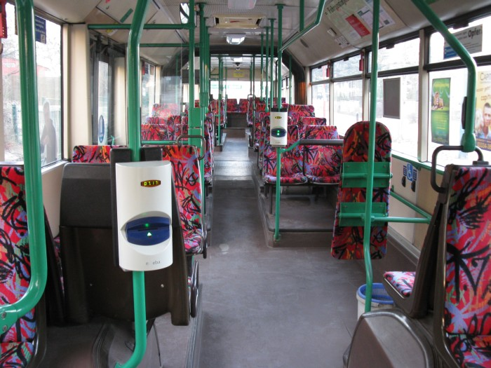 Articulated trolleybus no. 004 of the Austrian type ÖAF Gräf & Stift NGE 152 M17 - front interior view