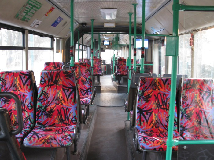 Articulated trolleybus no. 004 of the Austrian type ÖAF Gräf & Stift NGE 152 M17 - back interior view