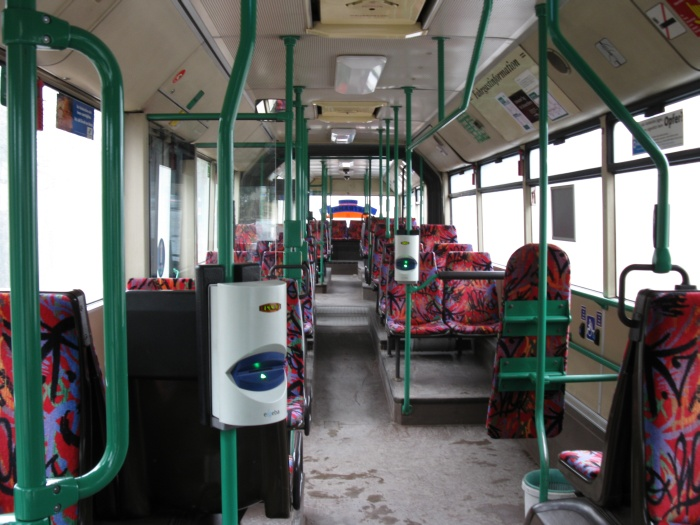 Articulated trolleybus no. 032 of the Austrian type ÖAF Gräf & Stift NGE 152 M17 - front interior view