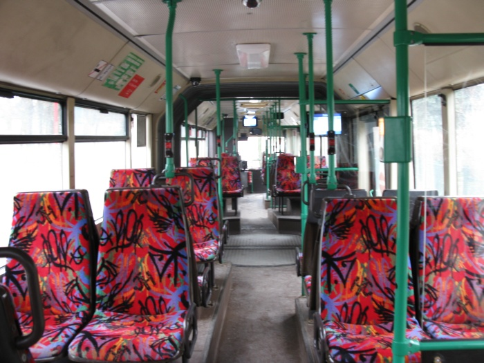 Articulated trolleybus no. 032 of the Austrian type ÖAF Gräf & Stift NGE 152 M17 - back interior view