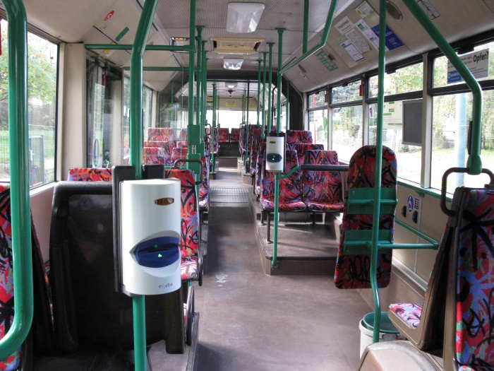 Articulated trolleybus no. 033 of the Austrian type ÖAF Gräf & Stift NGE 152 M17 - front interior view