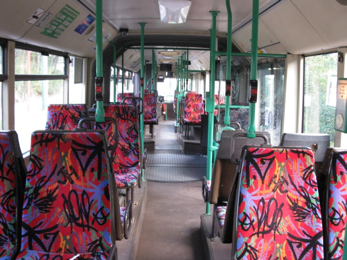 Articulated trolleybus no. 033 of the Austrian type ÖAF Gräf & Stift NGE 152 M17 - back interior view