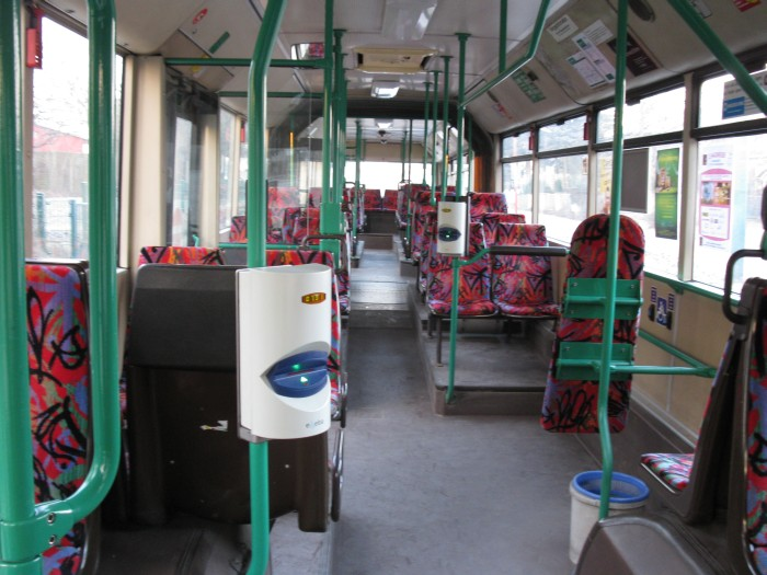 Articulated trolleybus no. 038 of the Austrian type ÖAF Gräf & Stift NGE 152 M18 - front interior view