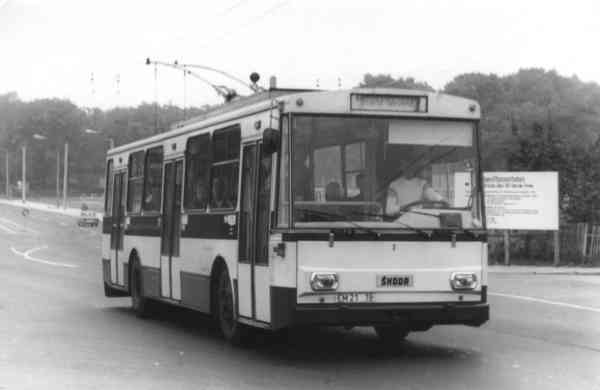 Trolleybus no. 02(IV) of the Czech type ŠKODA 14 Tr03 (out of service)