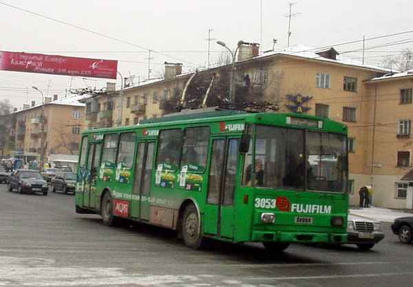 Former Eberswalde trolleybus no. 03(IV) (Almaty 3053) of the Czech type SKODA 14 Tr03 in Almaty/Kazakstan