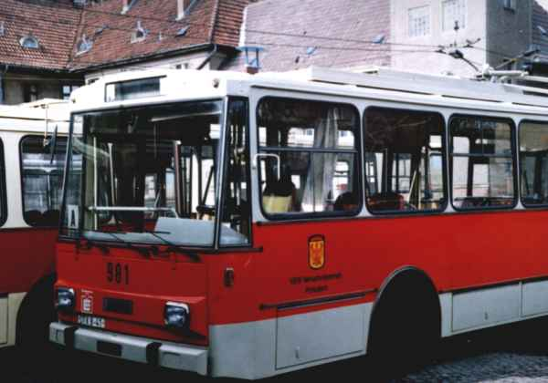 Former Eberswalde trolleybus no. 3(IV) of the Czech type ŠKODA 14 Tr03 in Potsdam on 09 June 1992