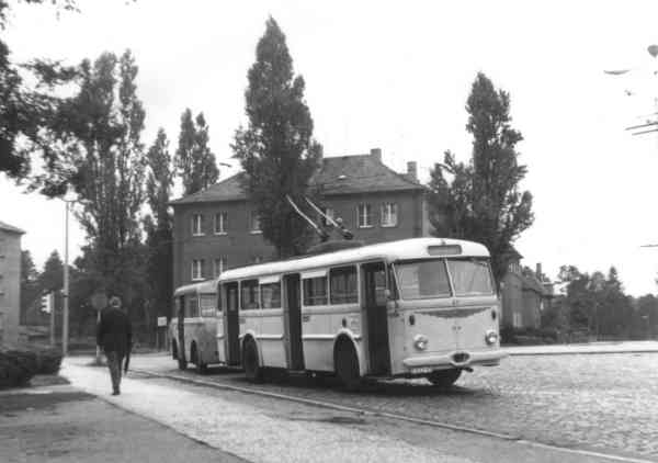Trolleybus no. 20/I of the Czech type ŠKODA 8 Tr10 (scrapped) with trailer