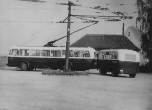 Trolleybus no. 12/I of the Czech type ŠKODA 8 Tr6 with a trailer of the German type Lindner (scrapped)