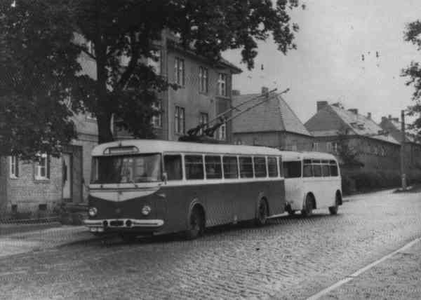 Trolleybus no. 13 of the Czech type ŠKODA 9 Tr0 (out of service)