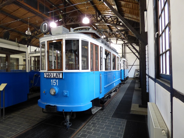Former Eberswalde tramcar no. 2 with the Kraków car no. 151 in the Technical Museum of Kraków/Poland in February 2016