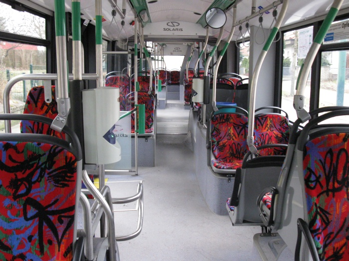 Articulated trolleybus no. 054 of the Polish type Solaris Trollino 18 AC - front interior view