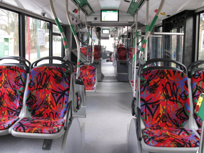 Articulated trolleybus no. 054 of the Polish type Solaris Trollino 18 AC - back interior view