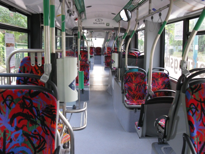 Articulated trolleybus no. 063 of the Polish type Solaris Trollino 18 AC - front interior view