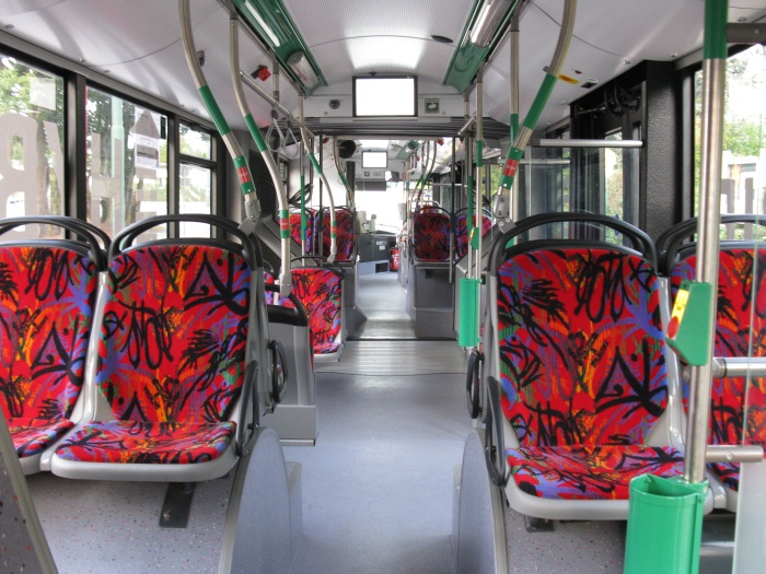 Articulated trolleybus no. 063 of the Polish type Solaris Trollino 18 AC - back interior view